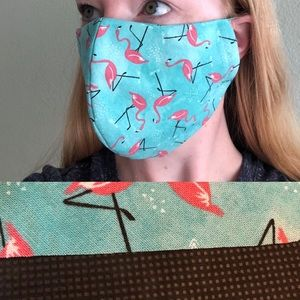 Accessories - NEW 3 LAYER Flamingo Print Face Mask Adult OSFM